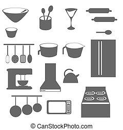 cucina, oggetti, silhouette