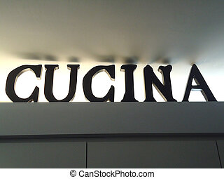 cucina is the italian word for kitchen. written in red on ...