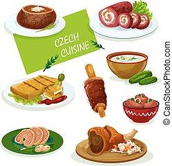cucina, piatti, ceco, menu, cena, disegno, cartone animato