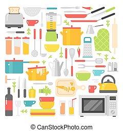 cucina, piatti, vettore, appartamento, icone, isolato, bianco, fondo