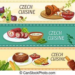 cucina, ristorante, ceco, menu, disegno, bandiere
