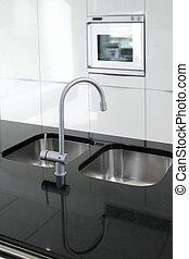 cucina, rubinetto, e, forno, moderno, nero bianco