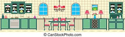 cucina, stanza, cenando