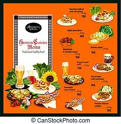 cucina, tedesco, menu, tradizionale, cibo, sano