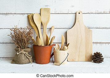 cucina, utensili cottura, su, uno, mensola