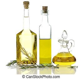 cucinando olio, bottiglie