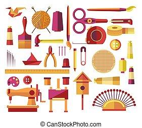 cucito, bricolage, fatto mano, progetti, creativo, carta, icone, lavoro