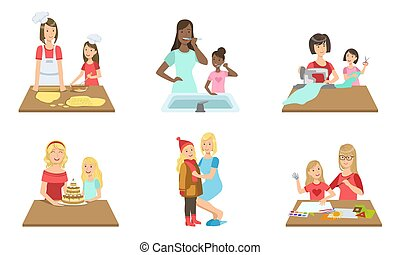 cucito, quotidiano, cottura, set, insieme, cottura, figlia, compiendo, illustrazione, pulizia, madre, denti, attività, vettore, pittura