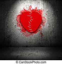 cucito, rotto, feltro, cuore