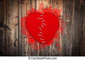 cucito, rotto, insieme, cuore