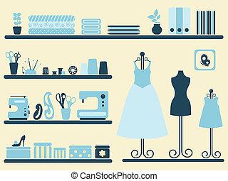 cucito, stanza, e, oggetti, set.