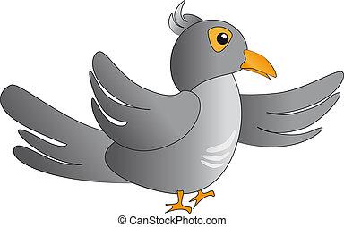 Cuckoo bird - merry cuckoo bird, gray color in profile
