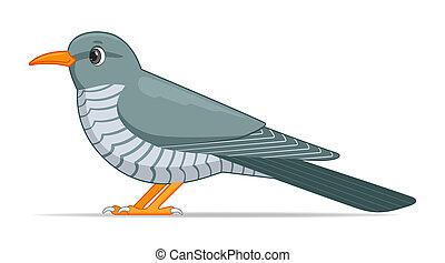 Cuckoo bird on a white background. Cartoon style vector illustration