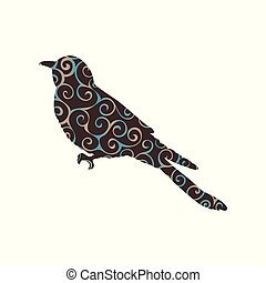Cuckoo bird spiral pattern color silhouette animal. Vector...