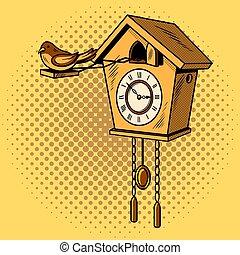 Cuckoo clock comic book style vector - Cuckoo clock comic...