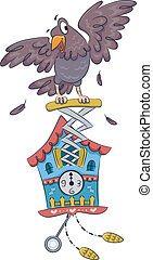 Cuckoo Clock - Illustration Featuring a Cuckoo Clock with a...