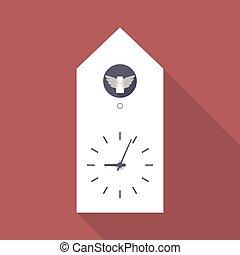 Cuckoo clock flat icon with long shadow