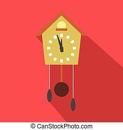 Cuckoo clock flat icon with long shadow. Single symbol on a...