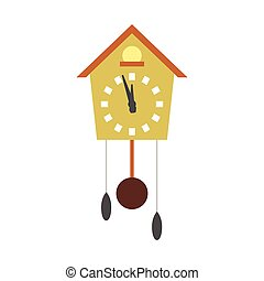Cuckoo clock flat icon isolated on white background