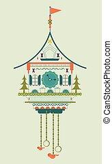 Cuckoo clock flat style doodle vector illustration. Green...