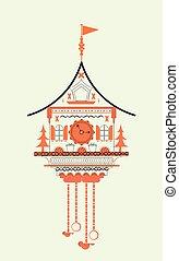 Cuckoo clock flat style doodle vector illustration. Orange...
