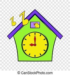 Cuckoo clock icon, cartoon style