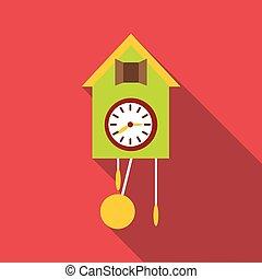 Cuckoo clock icon, flat style - Cuckoo clock icon. Flat...