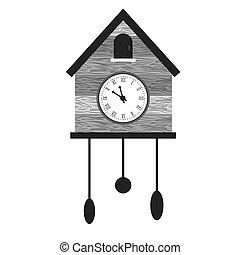 Cuckoo clock icon image, vector illustration design