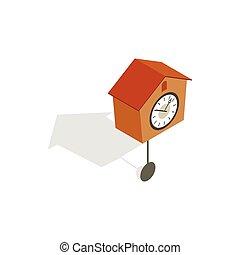 Cuckoo clock icon, isometric 3d style