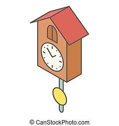 Cuckoo clock icon, isometric style