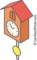 Cuckoo clock icon, isometric style - Cuckoo clock icon....
