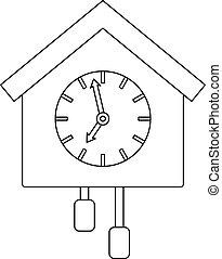 Cuckoo clock icon, outline style. - Cuckoo clock icon....