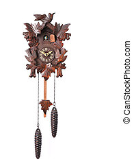 Cuckoo Clock Isolated on a White Background With Hanging...