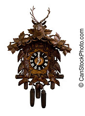 Old wooden cuckoo clock isolated on a white background.