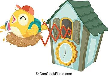 Cuckoo Clock School Time Illustration - Illustration of...
