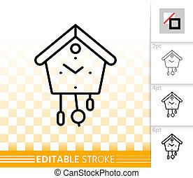 Cuckoo Clock simple black line vector icon - Cuckoo Clock...