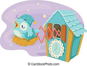 Cuckoo Clock Sleep Time Illustration - Illustration of...