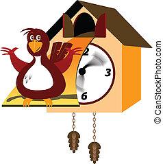 cuckoo clock - A fat cuckoo bird sitting outside his clock
