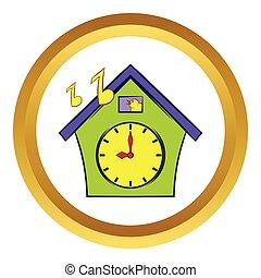 Cuckoo clock vector icon, cartoon style - Cuckoo clock...