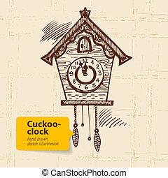 cuckoo-clock., vindima, mão, ilustração, desenhado