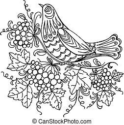 cuckoo - hand drawn, vector, black illustration in Ukrainian...