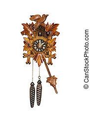 cuco, tradicional, reloj, sondeo, hora