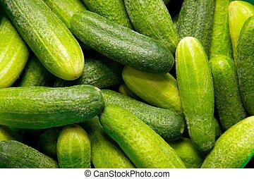 A pile of fresh cucumber