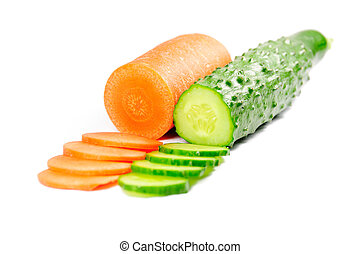 cucumber and carrot - Picture of isolated cucumber and...
