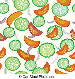 Cucumber and tomato seamless cartoon pattern vector