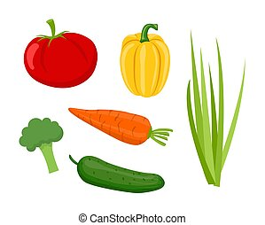 Cucumber and Tomatoes Set Vector Illustration - Cucumber and...