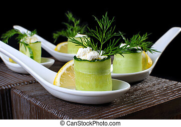 Cucumber canape with ricotta