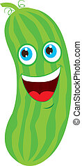 cucumber cartoon - green cucumber cartoon over white...
