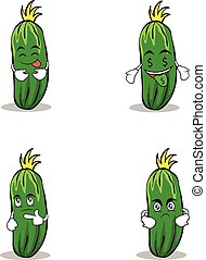 cucumber character cartoon collection of set