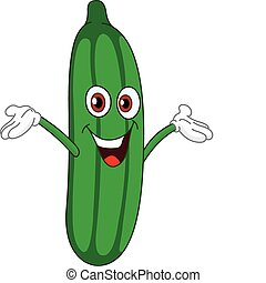 Cucumber - Cheerful cartoon cucumber raising his hands